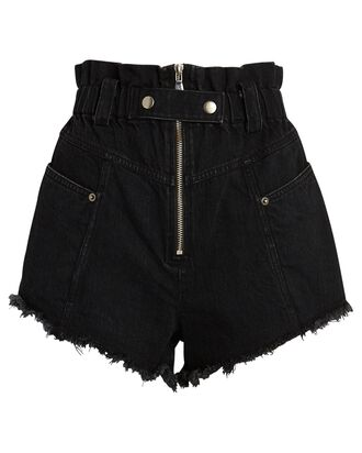 Phillipa Denim Cut-Off Shorts, BLACK, hi-res