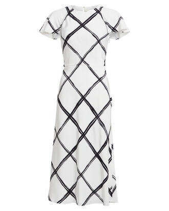 Windowpane Silk Crepe Dress, BLACK/WHITE, hi-res