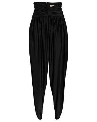 Cropped High-Rise Jersey Pants, BLACK, hi-res