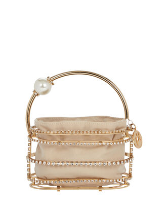 Abaco Cage Pearl And Crystal Clutch, GOLD, hi-res