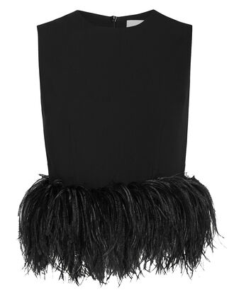 Feather Trim Crepe Tank, BLACK, hi-res
