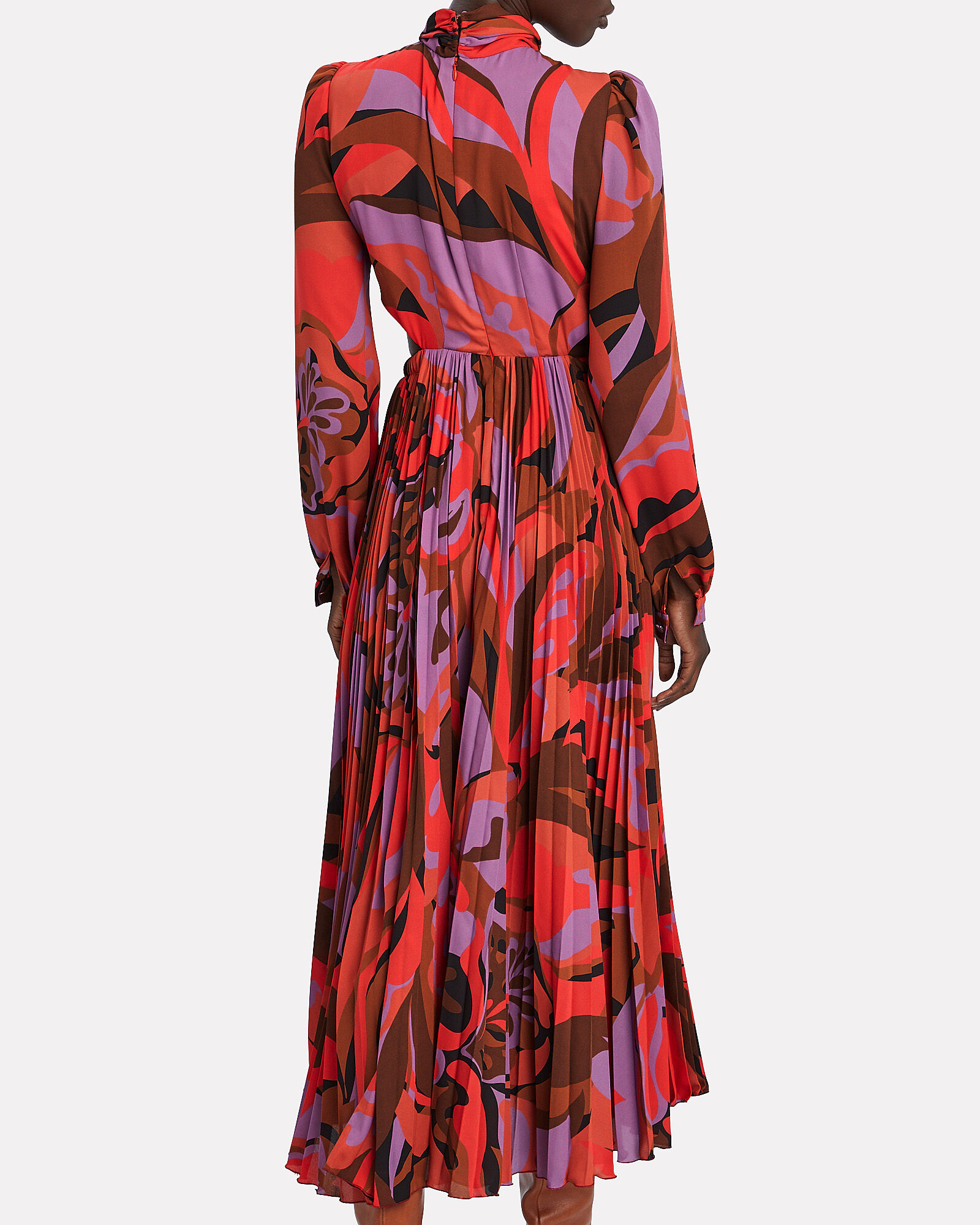 Lauren Printed Cut-Out Midi Dress, RED/ABSTRACT, hi-res