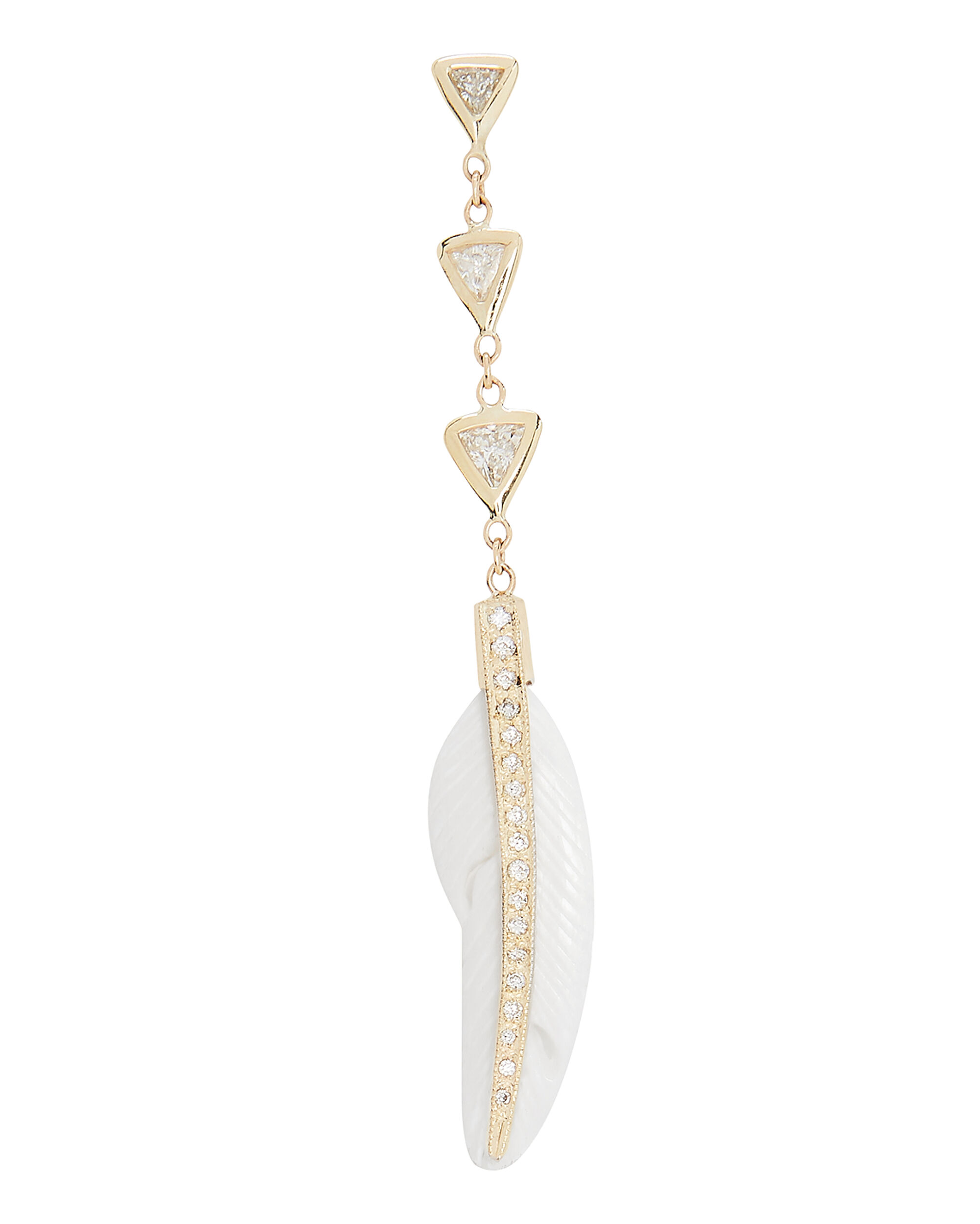 3 Diamond Feather Drop Earring, GOLD, hi-res
