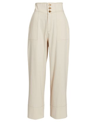 Conley Cotton Wide-Leg Pants, IVORY, hi-res