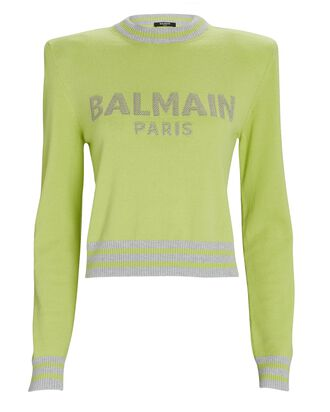 Cropped Wool-Cashmere Logo Sweater, LIGHT GREEN, hi-res