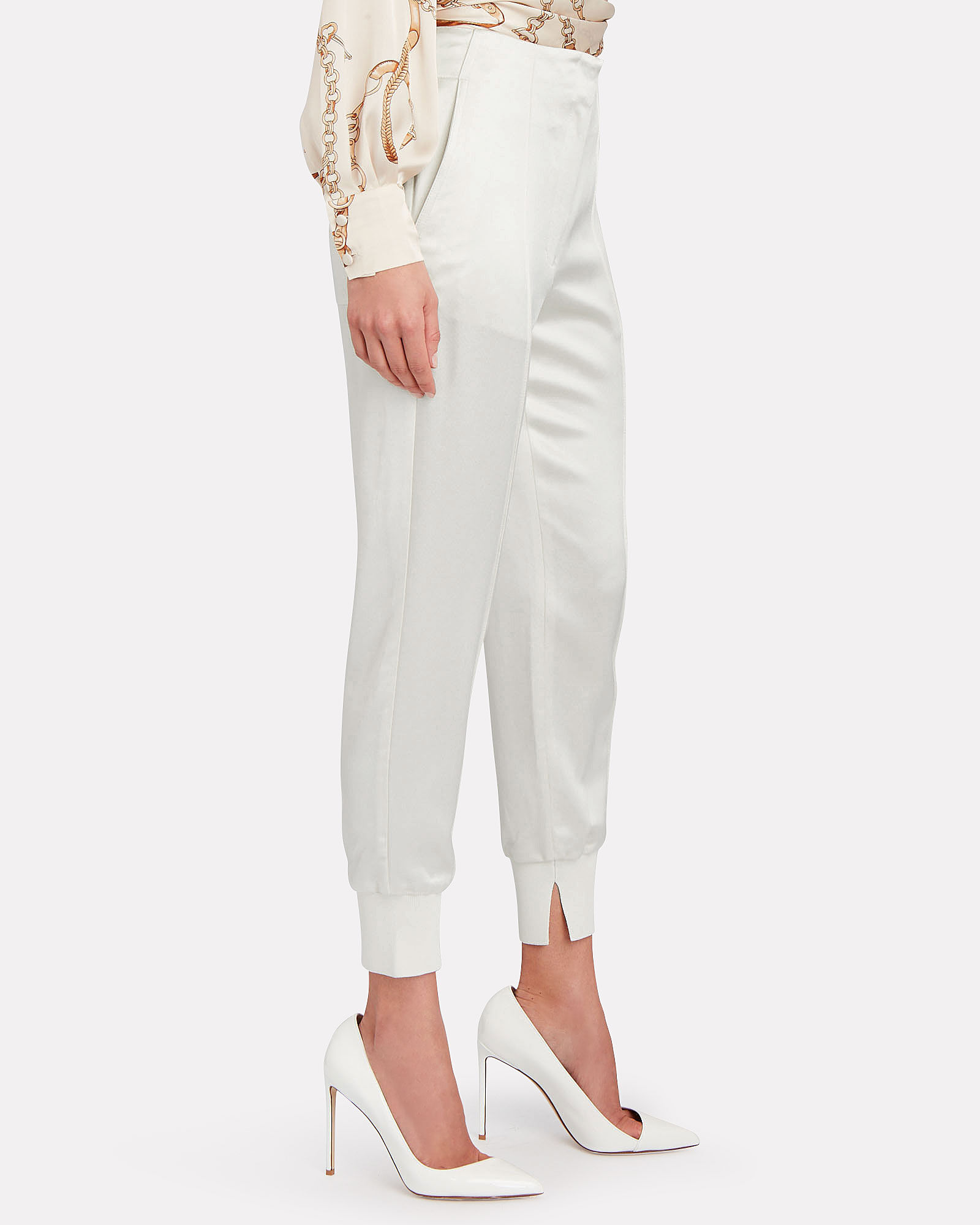 High-Rise Crepe Joggers, IVORY, hi-res