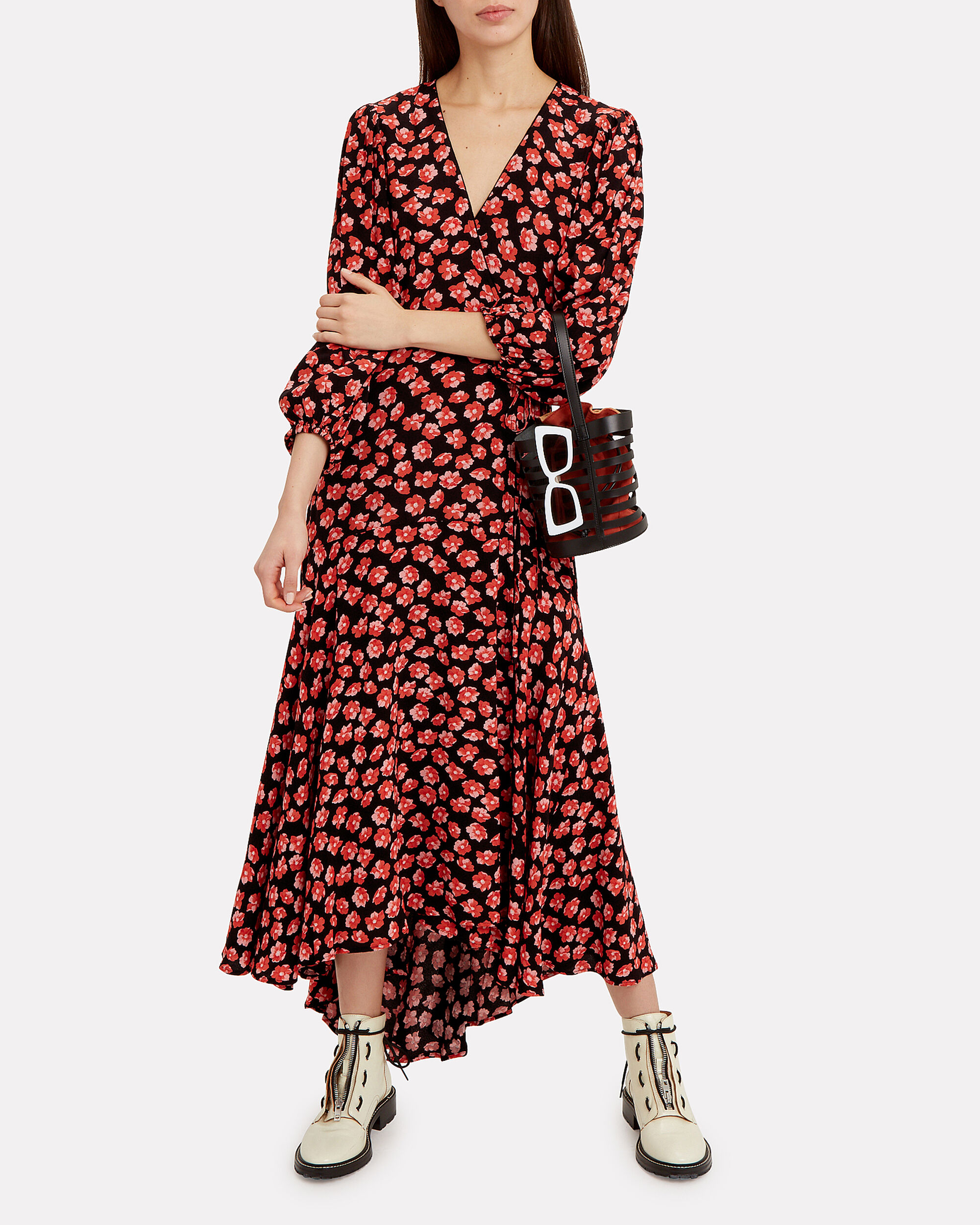 Fiery Red Printed Wrap Dress, RED, hi-res