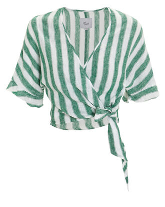 Athena Striped Wrap Top, GREEN/WHITE, hi-res