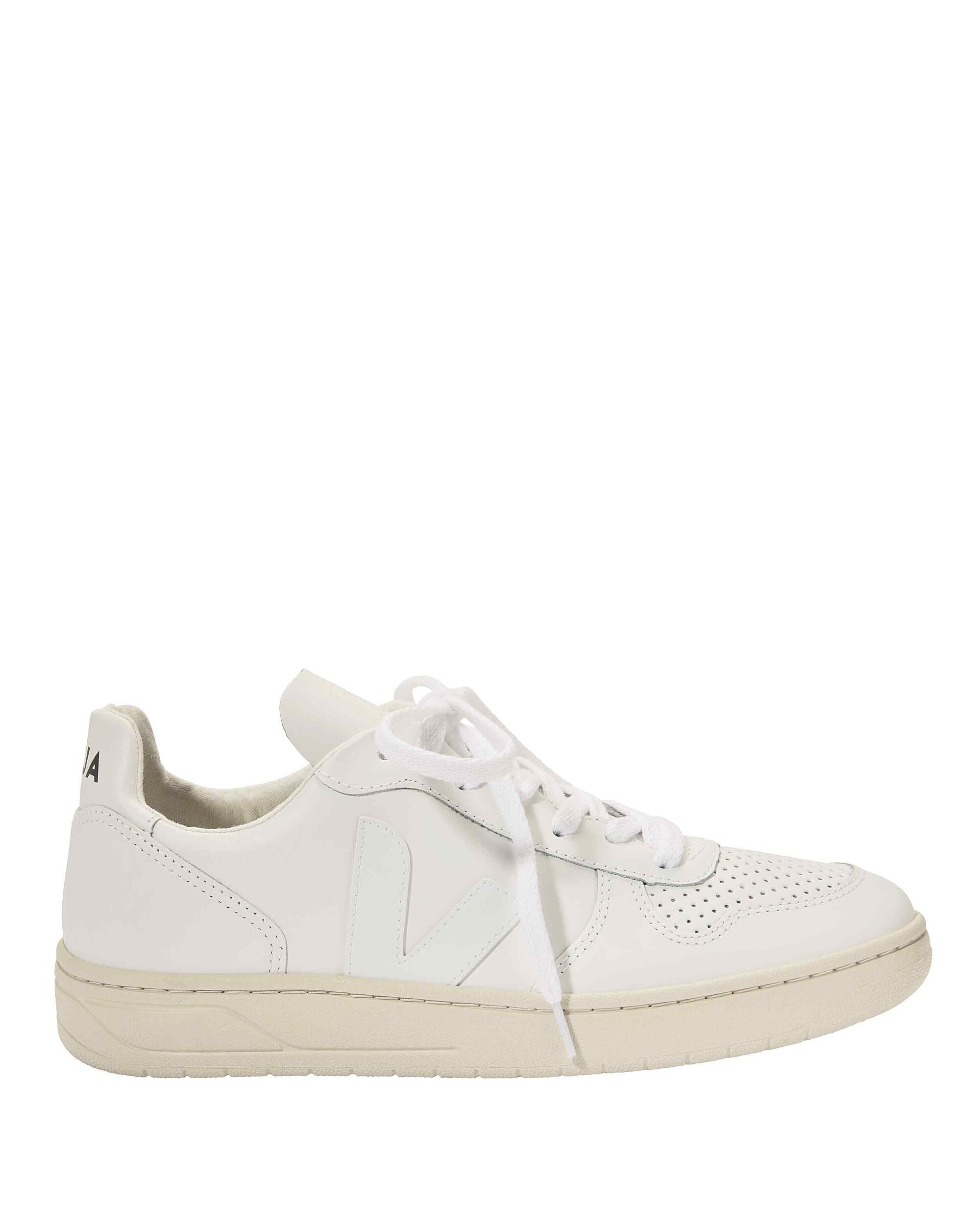 V-10 Perforated Low-Top Sneakers, WHITE, hi-res