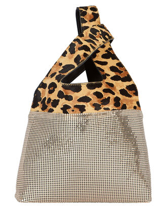 Leopard Embellished Leather Shopper, BLACK/LEOPARD, hi-res