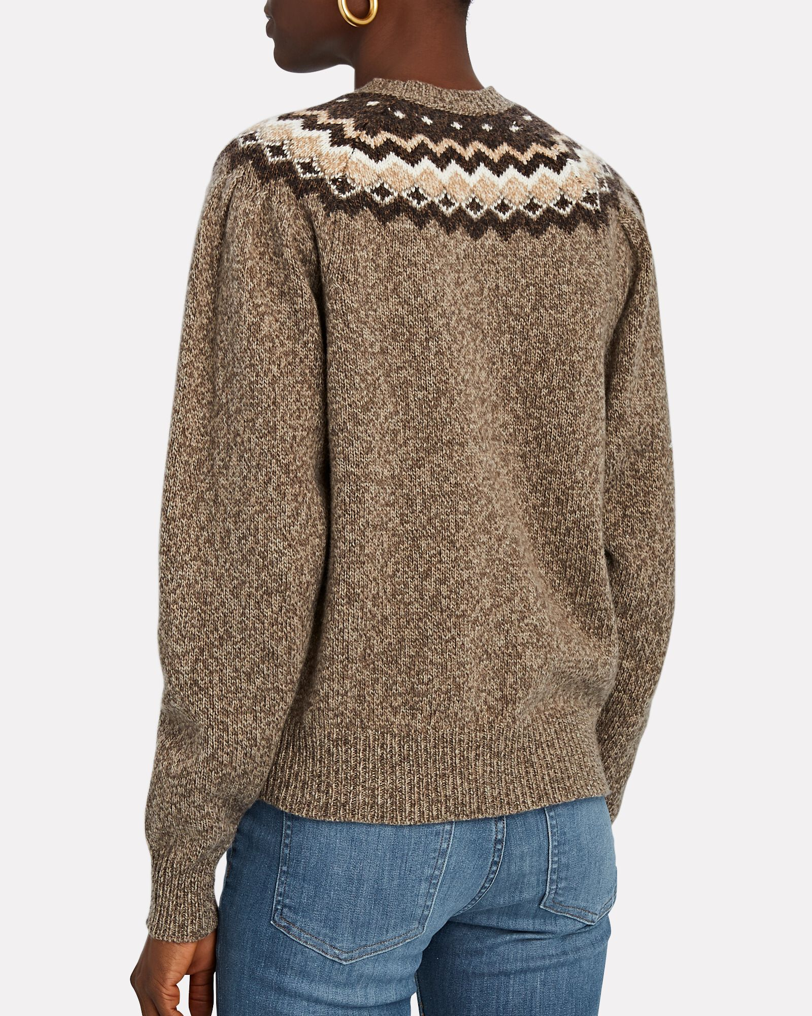 Fair Isle Crewneck Sweater, BROWN, hi-res