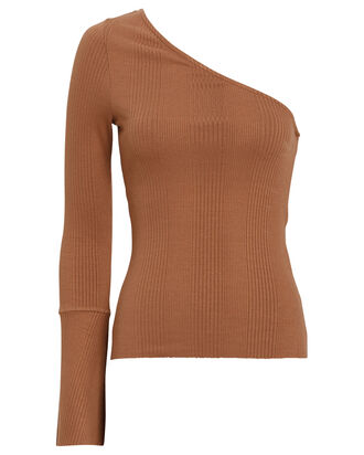 One-Shoulder Ribbed Top, BROWN, hi-res