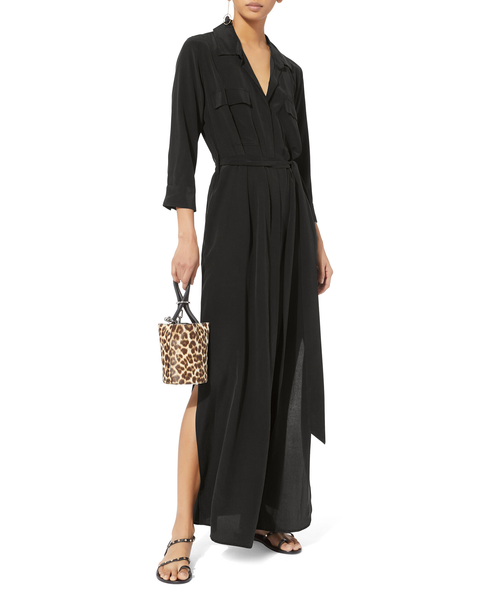Cameron Silk Shirt Dress, BLACK, hi-res