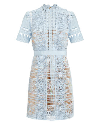 Blue Lace Mini Dress, LIGHT BLUE/NUDE, hi-res