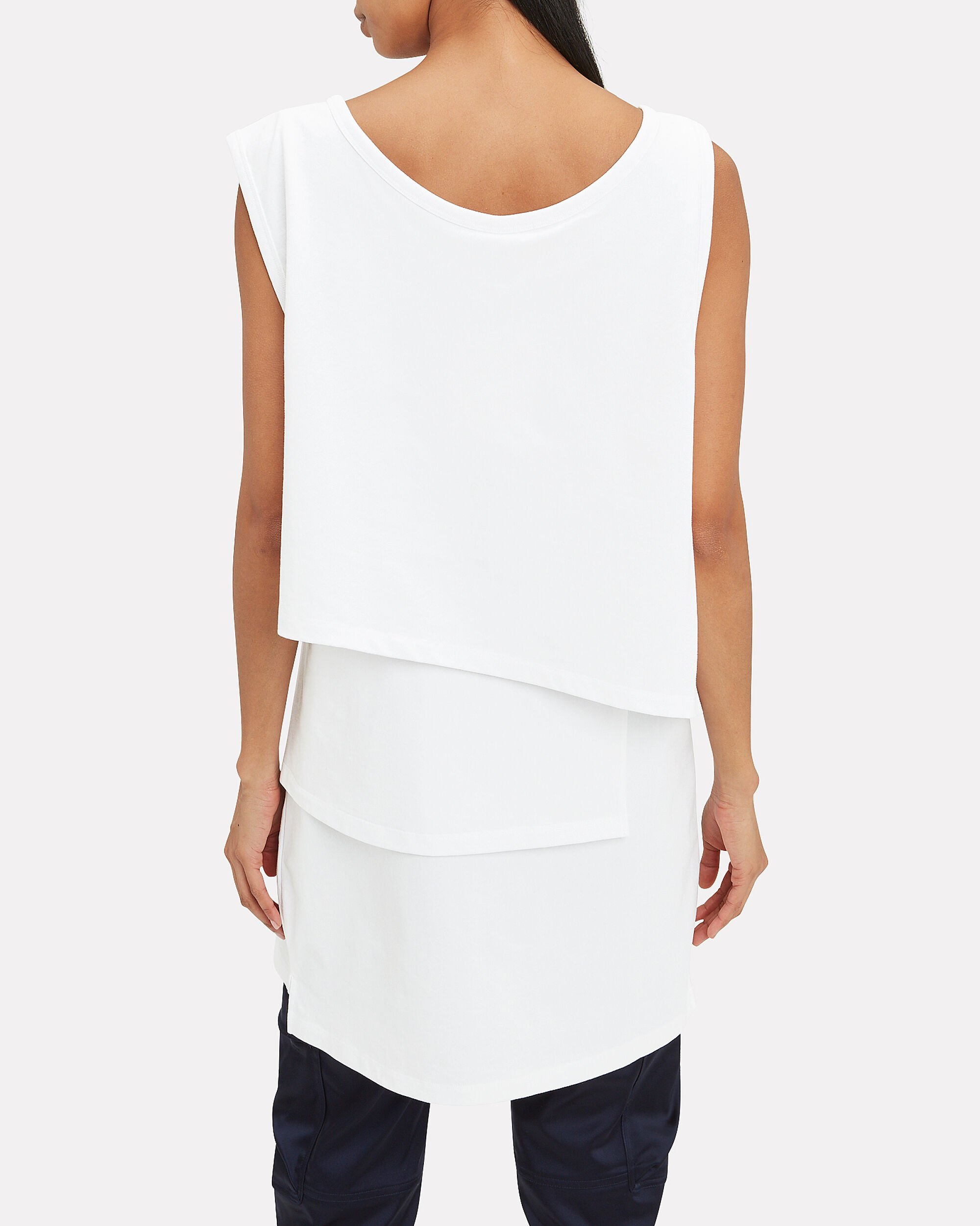 Layered Muscle T-Shirt Dress, WHITE, hi-res