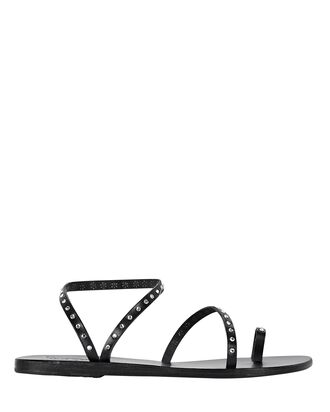 Apli Eleftheria Crystal Leather Sandals, BLACK, hi-res