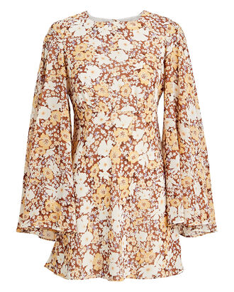Dixie Floral Circle Sleeve Dress, BURNT SIENNA FLORAL, hi-res