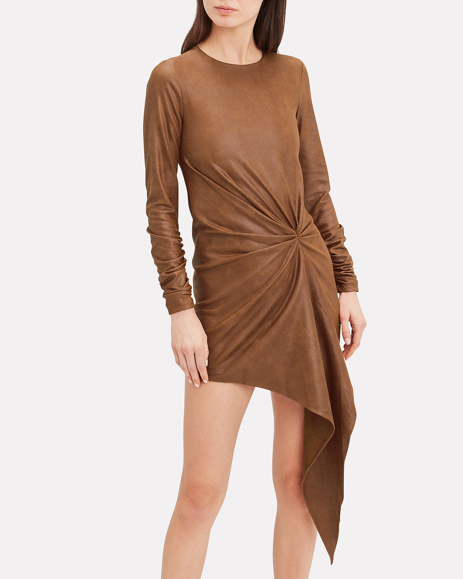 Haddasah Faux Leather Mini Dress, BROWN, hi-res