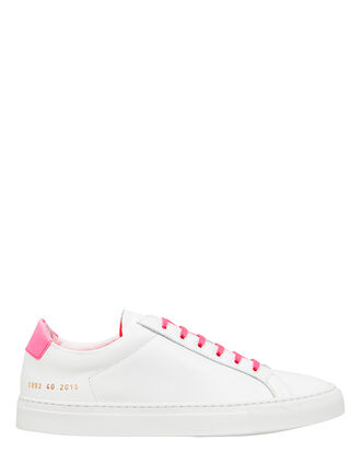 Retro Pink Low-Top Sneakers, WHITE/PINK, hi-res