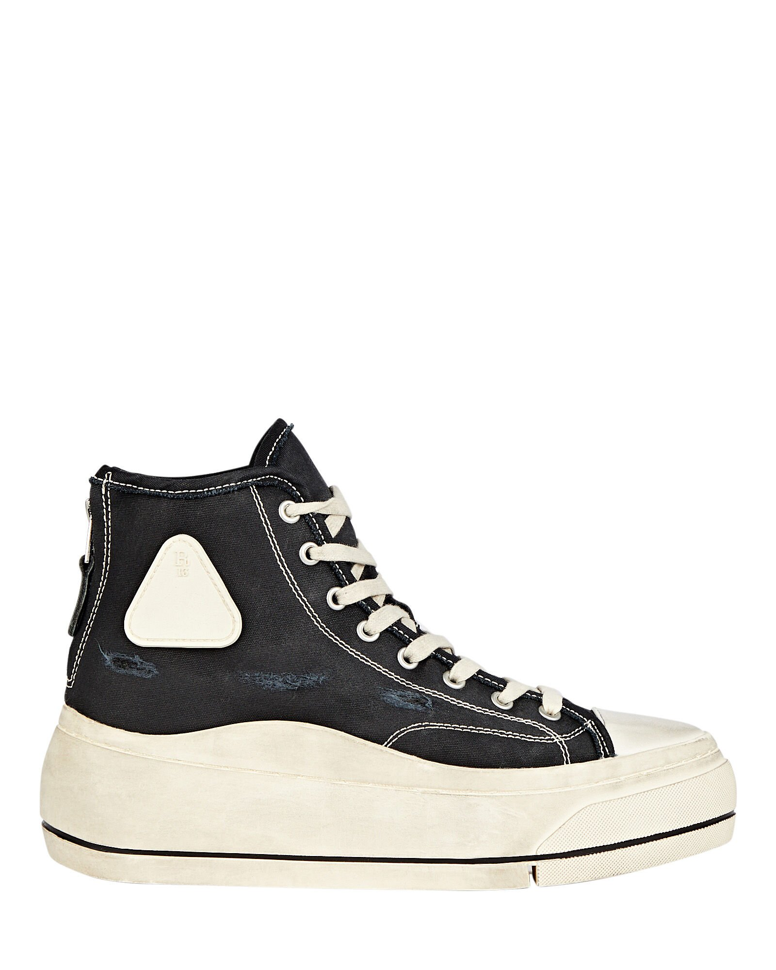 Platform High-Top Canvas Sneakers, BLACK, hi-res