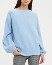 Balloon Sleeve Pullover Blue Sweater, BLUE, hi-res