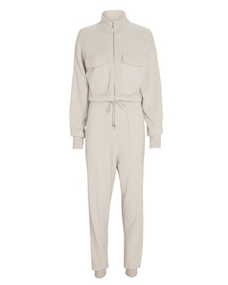 Iman Knit Zip-Up Jumpsuit, IVORY, hi-res