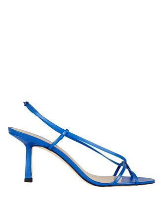 Entwined Leather Strappy Sandals, BLUE-MED, hi-res
