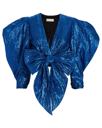 Jaden Metallic Cropped Blouse, METALLIC COBALT, hi-res