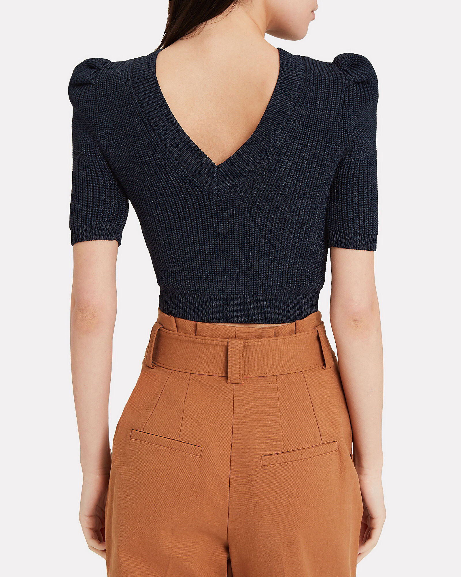 Pleated Sleeve Knit Crop Top, NAVY, hi-res