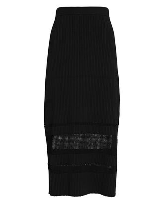Rib Knit Midi Skirt, BLACK, hi-res