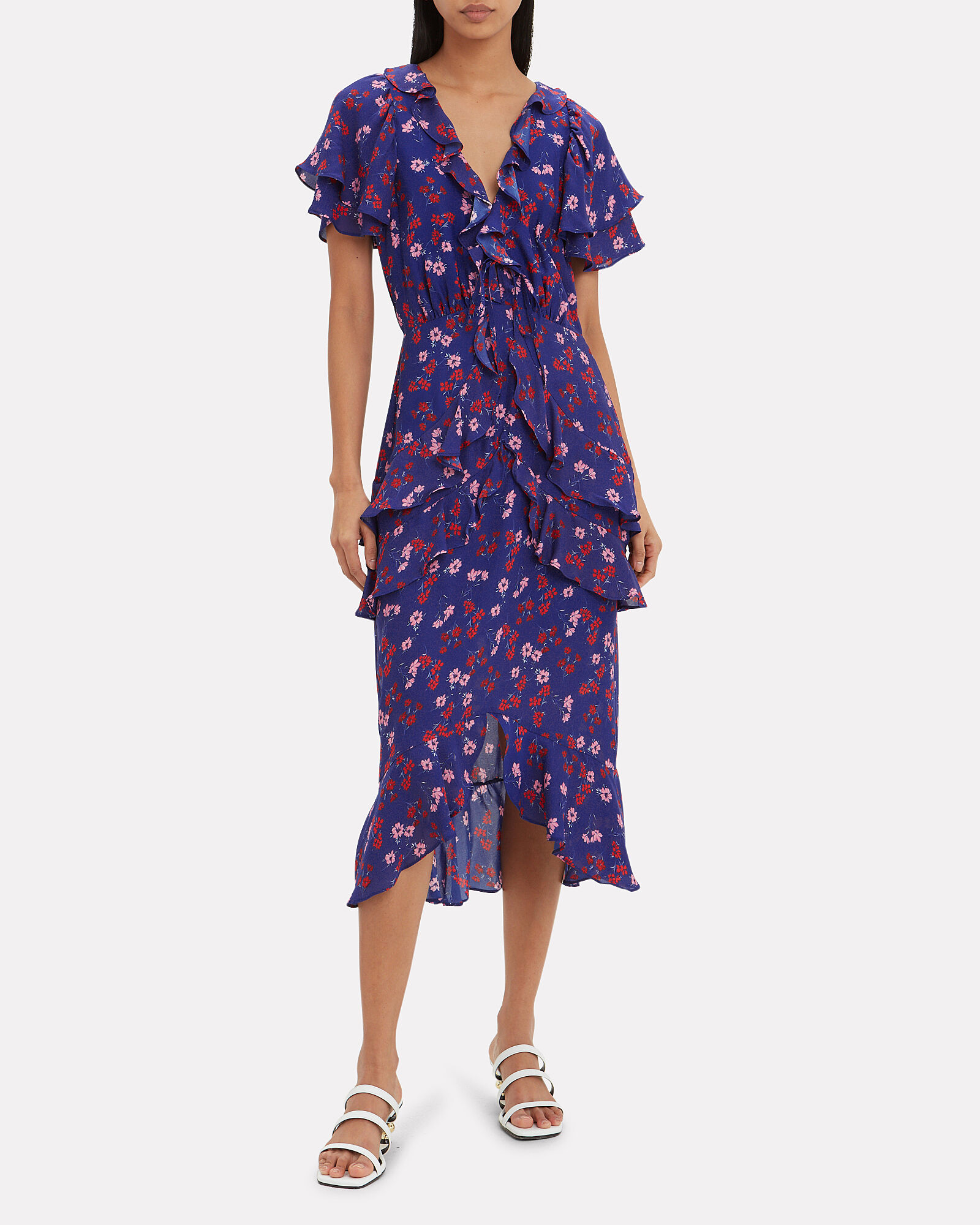 Yearning Ruffle Midi Dress, PURPLE/FLORAL, hi-res