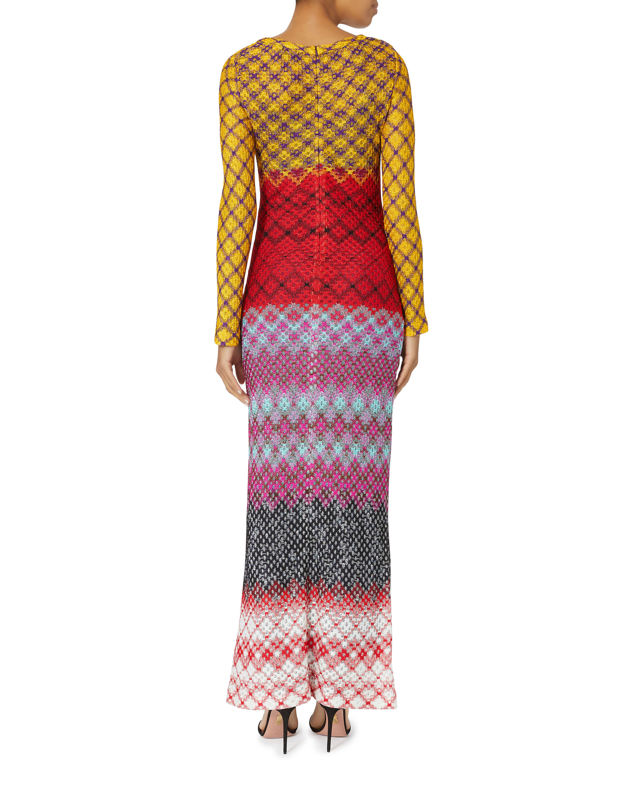 Multicolor Zig Zag Lurex Dress, MULTI, hi-res