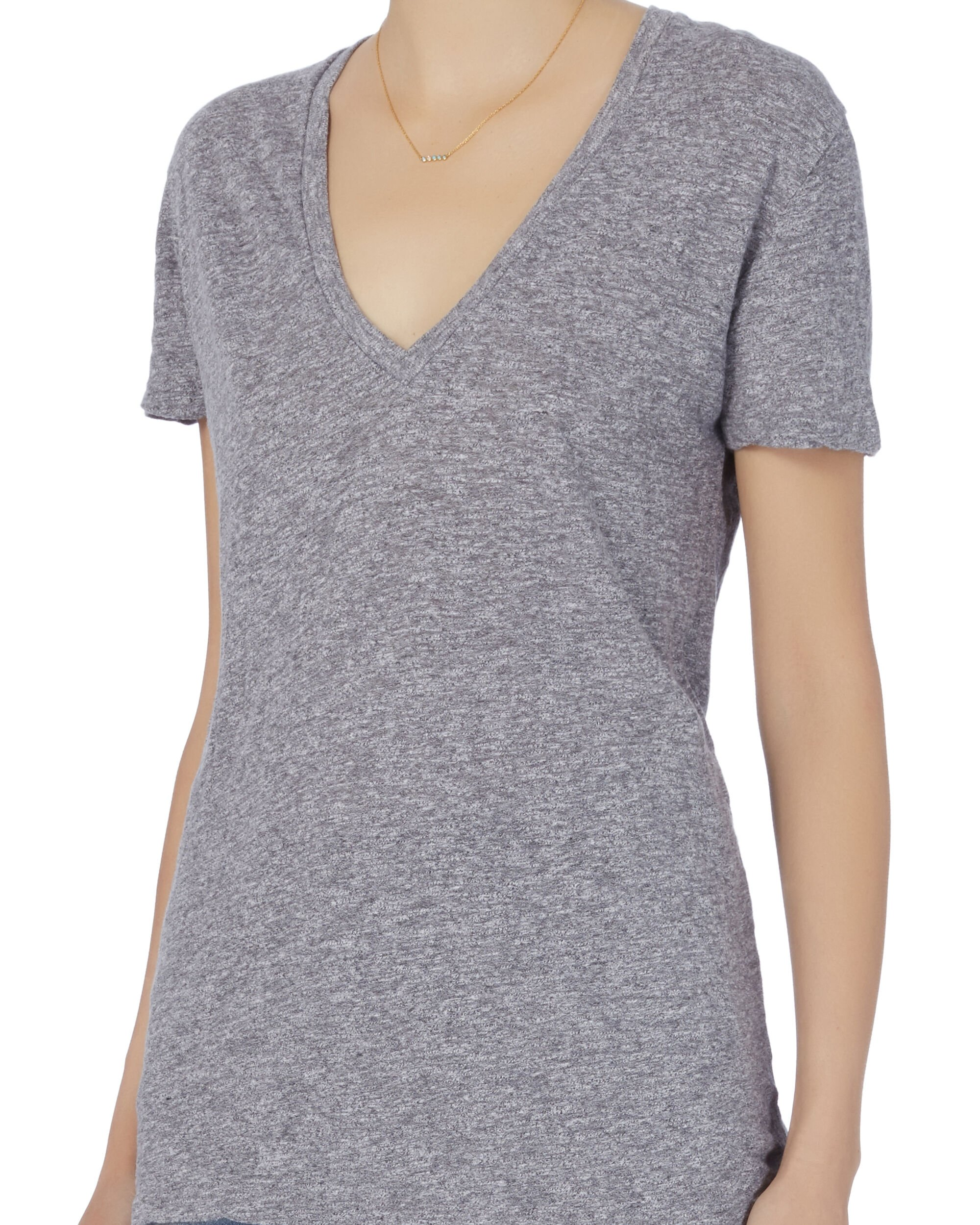 Grey Oversized V-Neck Tee, GREY, hi-res