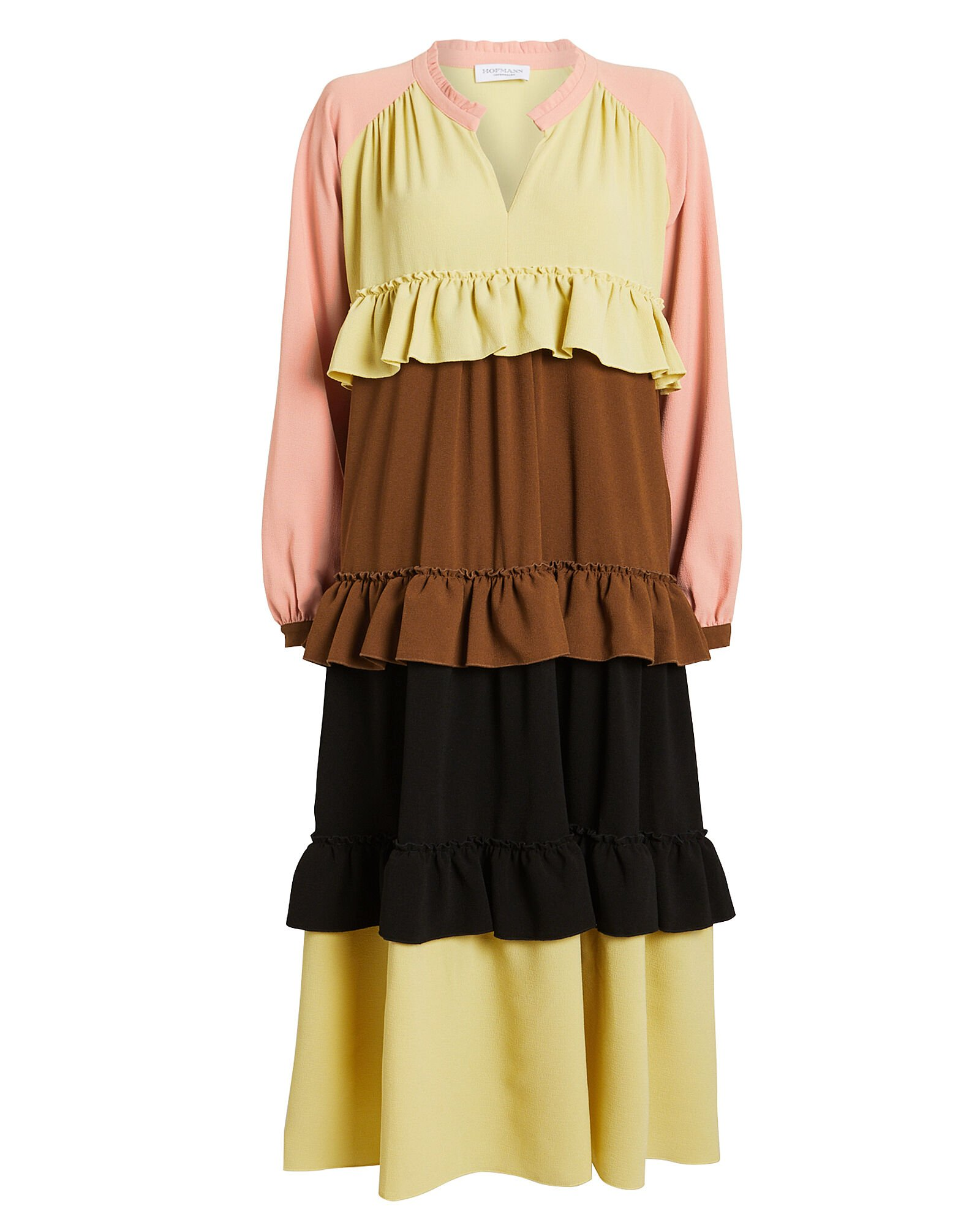 Jeanne Tiered Colorblocked Dress, MULTI, hi-res