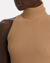 Sarah Sleeveless Knit Turtleneck Dress, BEIGE, hi-res