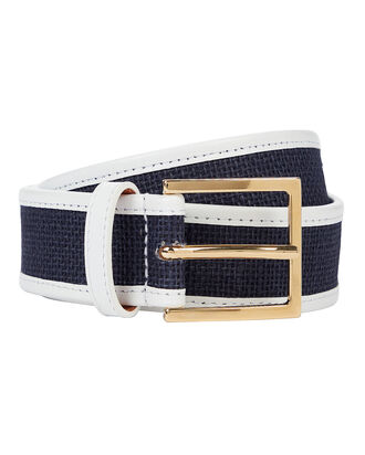 Nappa Leather-Piped Woven Belt, NAVY/WHITE, hi-res