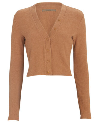 Cropped V-Neck Cardigan, BROWN, hi-res