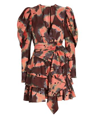 Semira Tie-Dye Puff Sleeve Mini Dress, ROSE, hi-res