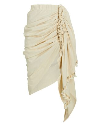 Tulum Ruched High-Low Skirt, IVORY, hi-res