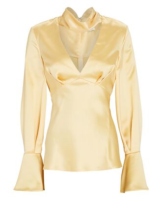 Florence Satin Cut-Out Blouse, YELLOW, hi-res