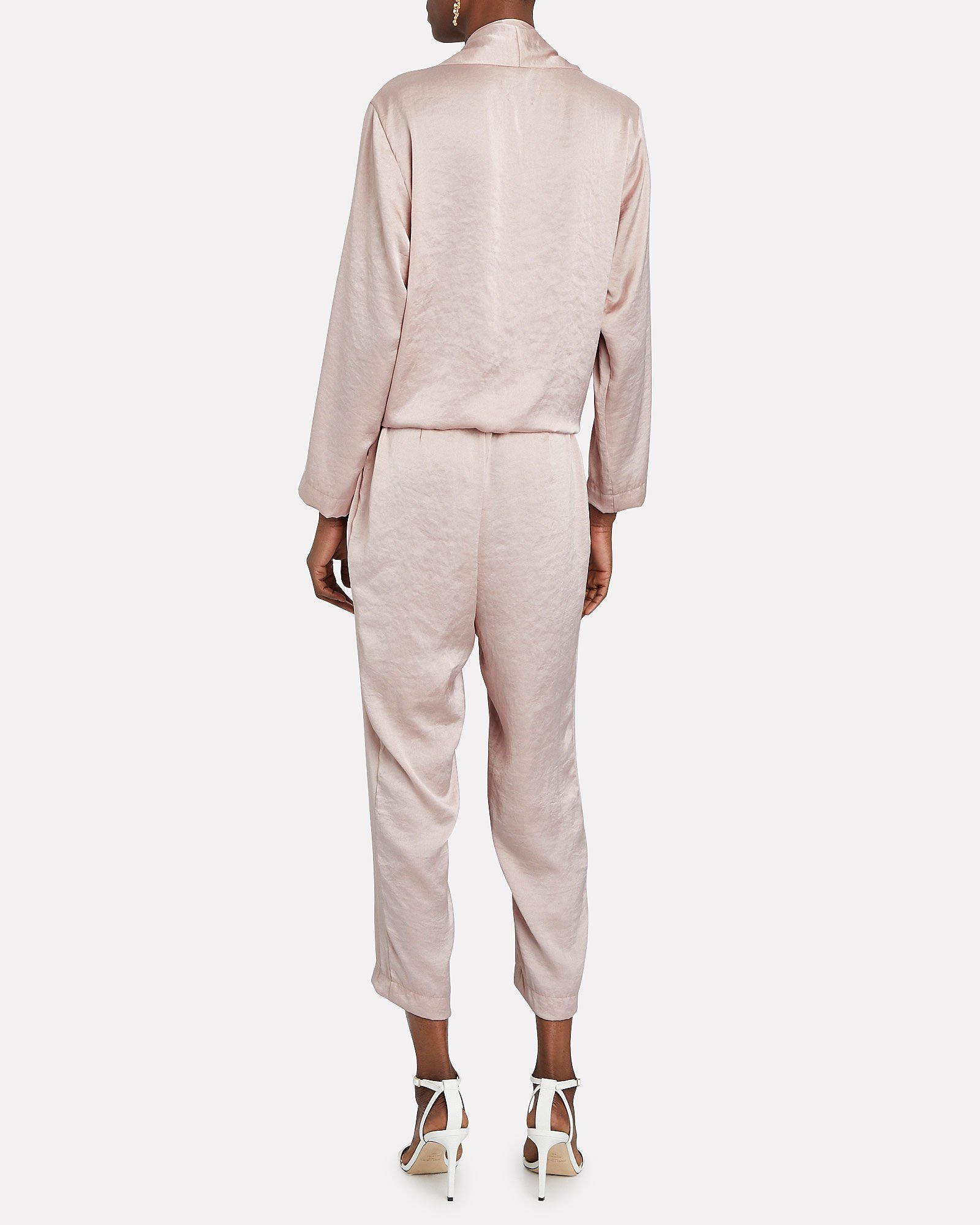Stine Satin Tie-Front Jumpsuit, BLUSH, hi-res