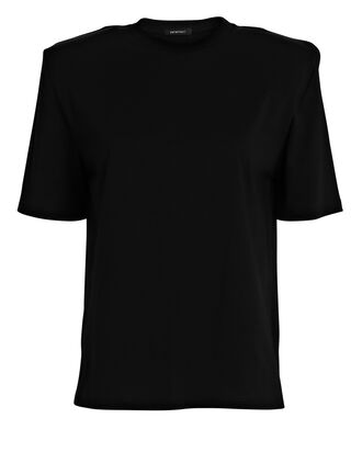 Padded Shoulder Short Sleeve T-Shirt, BLACK, hi-res
