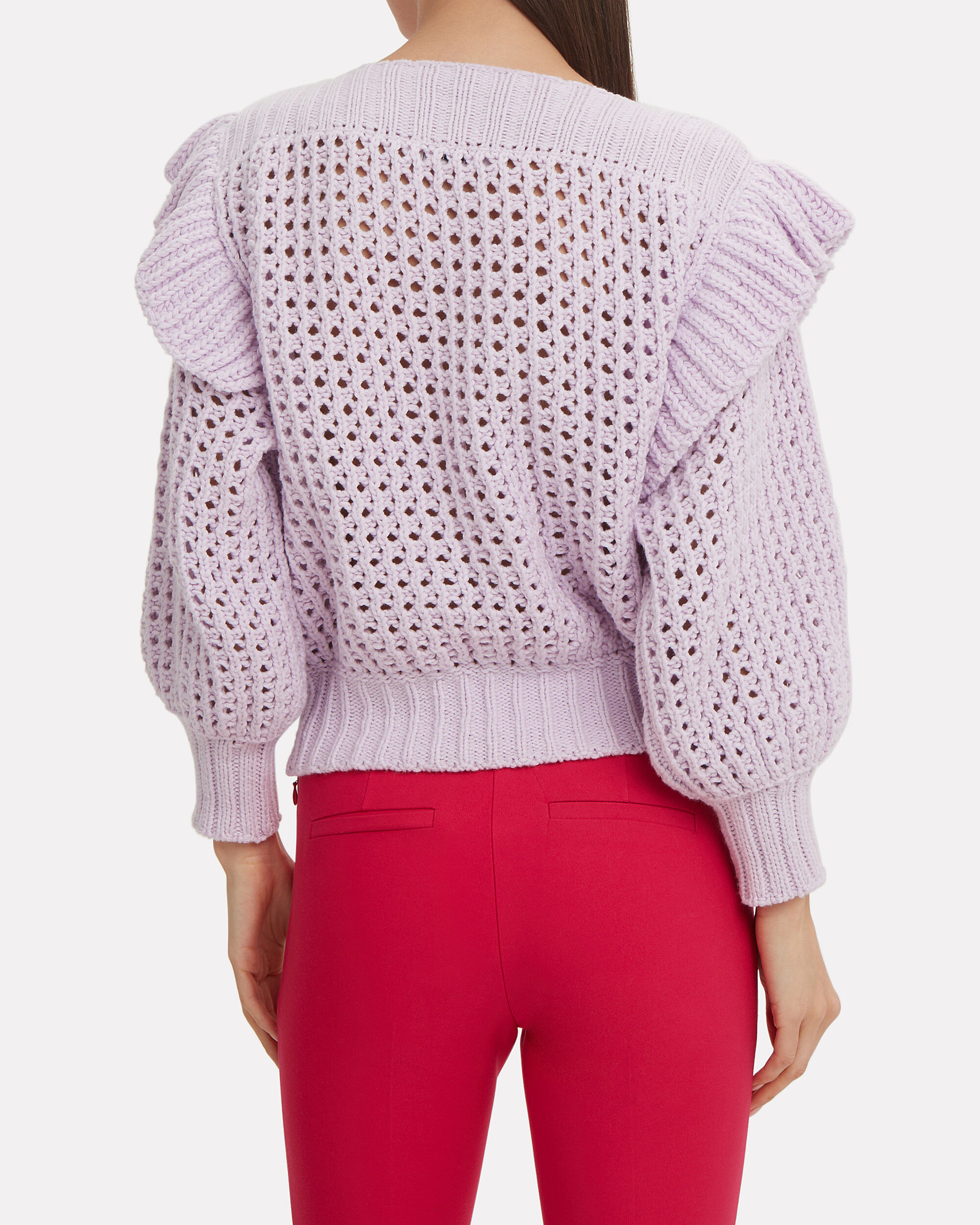 Ruffle Knit Sweater, LILAC, hi-res