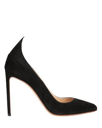 Point Back Suede Pumps, BLACK, hi-res