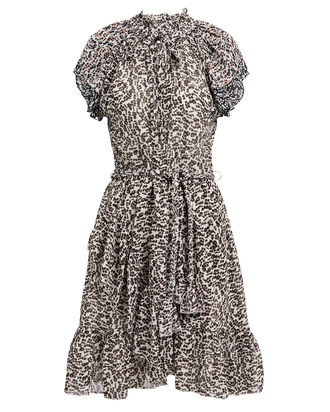 Sabina Silk Georgette Printed Dress, BLACK/WHITE, hi-res