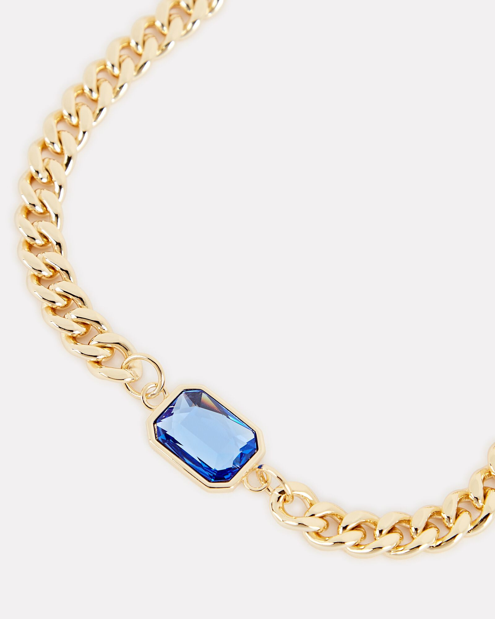 Chunky Gem Chain-Link Choker Necklace, BLUE, hi-res