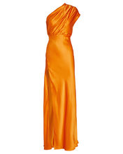 Silk Charmeuse One-Shoulder Gown, , hi-res