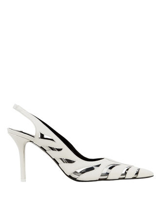 Tigre White Slingback Pumps, WHITE, hi-res