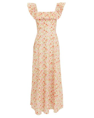 Goldie Linen Maxi Dress, IVORY/FLORAL, hi-res