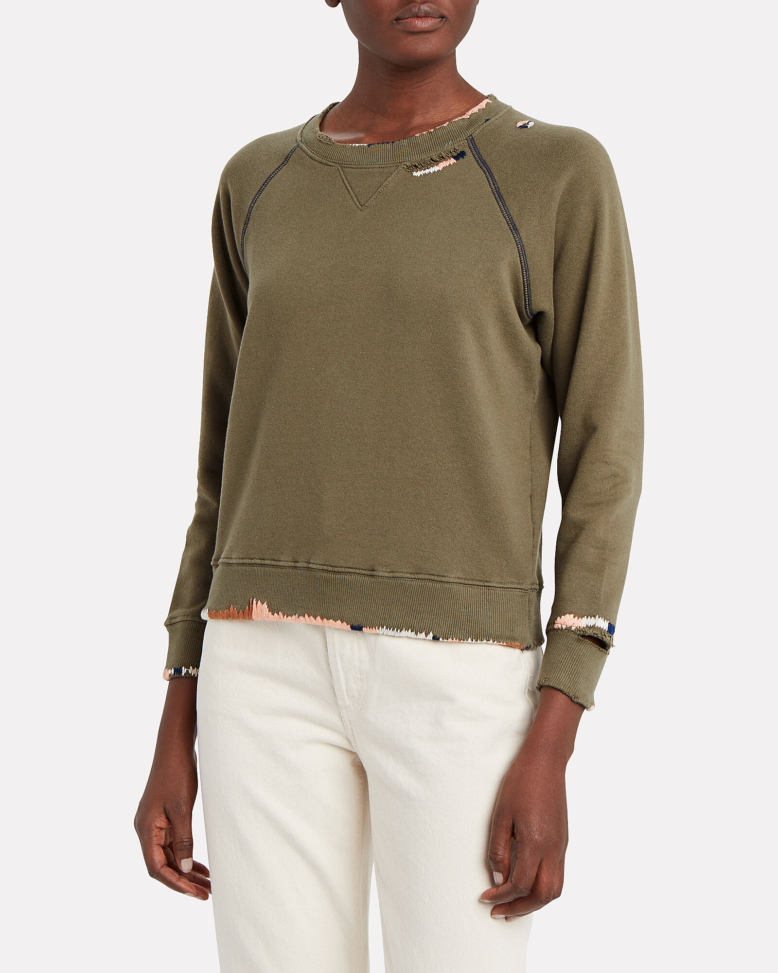 The Square Terry Sweatshirt, OLIVE/ARMY, hi-res